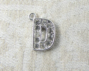 "Platinum Rhinestone Letter ""D"" Charm 1 or 5 letters per package ALF022d-PL"