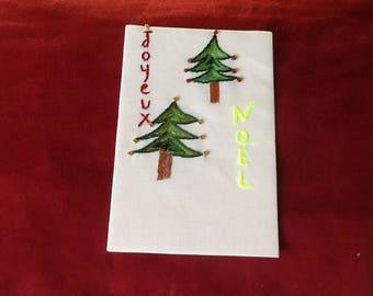 Embroidered Christmas card. Hand made