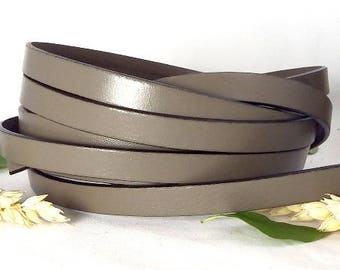 Taupe flat leather 10mm by 1 meter high quality