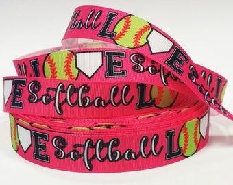 "7/8"" inch LOVE Softball on Hot Pink Balls Sports Soft Ball Printed Grosgrain Ribbon for Hair Bow - Original Design"