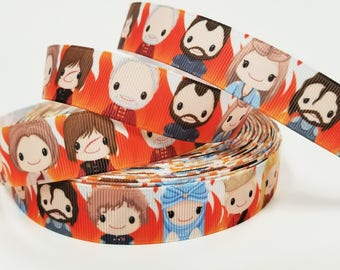 """7/8 """" inch Killing Game Kinds Queens Dragons - Printed Grosgrain Ribbon for 7/8 inch  Hair Bow"""