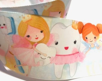 3 inch TOOTH FAIRY Dentist Teeth Princess Watercolor Printed Grosgrain Ribbon Cheer Hair Bow - 3""