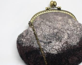 Brown womens purse clutch hand bag cross body bag evening after five purse Australian Merino wool felt with hand dyed silk detail 11621