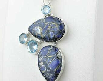 Copper Sodalite Swiss Blue Topaz 925 S0LID Sterling Silver Pendant + 4MM Snake Chain p4179