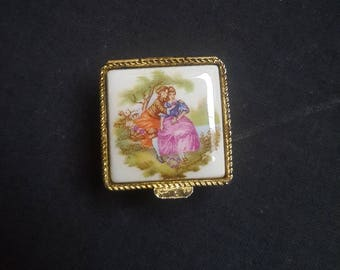 Vintage Limoges Fragonard Pill Box Trinket Box Porcelain Top / French Design