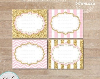 50% OFF SALE Pink and Gold Food Tent Labels, Gold Glitter Buffet Labels, Table tents, Baby shower Decorations, Candy Labels, Party printable