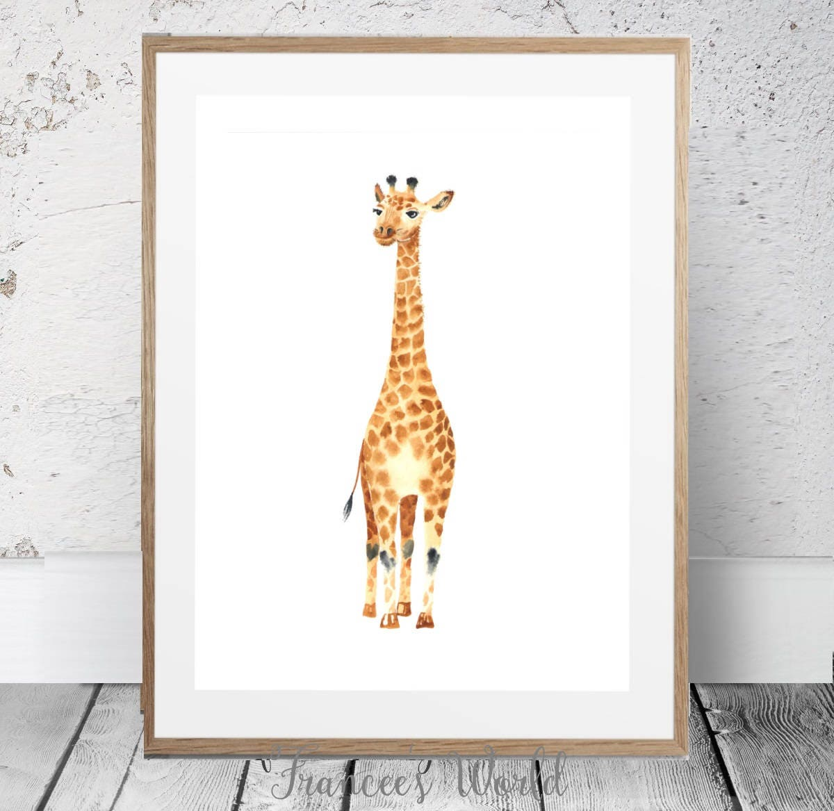 Giraffe printable giraffe art watercolor print safari art zoom amipublicfo Gallery