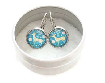 Sleepers cabochons - stem stainless steel - glass 12 mm - turquoise earring - deer - hypoallergenic / Deer earrings