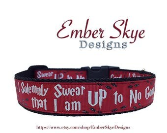 "Harry Potter ""I Solemnly Swear That I Am Up To No Good"" Red Adjustable Dog Collar 1"" Wide"