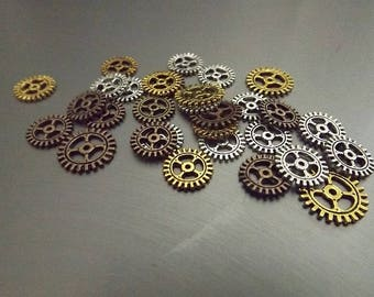 Steampunk Gears assorted mix 30pcs 10mm 12mm