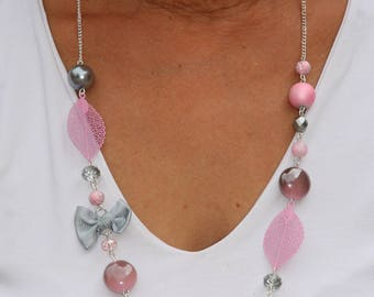 Necklace colors pink and gray