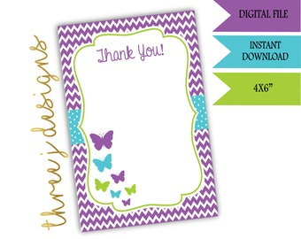 Butterfly Baby Shower Thank You Card - INSTANT DOWNLOAD - Purple, Teal and Green - Digital File - J006