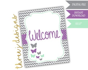 Butterfly Baby Shower Welcome Sign - INSTANT DOWNLOAD - Gray, Lavender and Mint - Digital File - J005