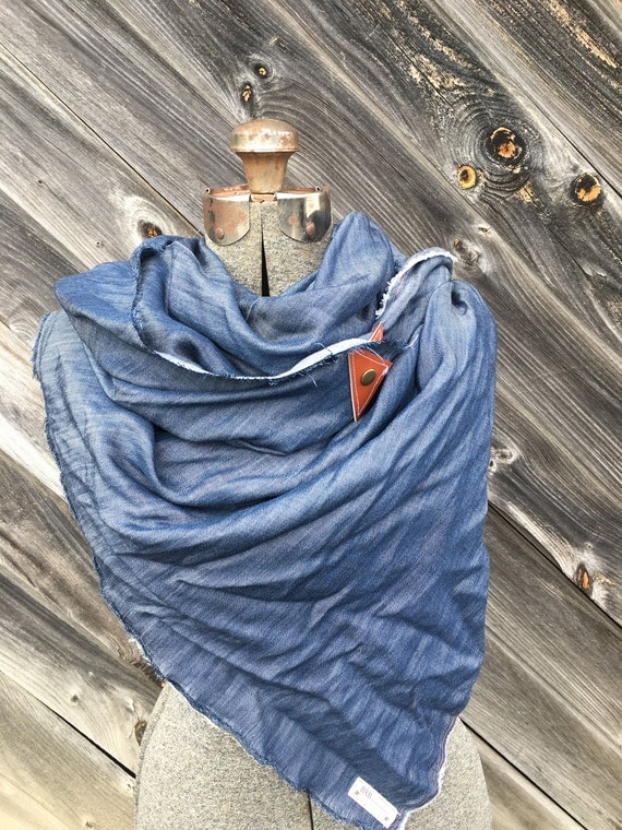 Blue Chambray blanket scarf with leather detail