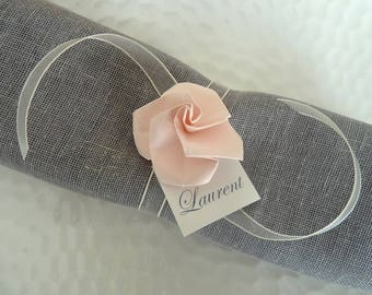 10 marks square round napkin rings for wedding - pink paper - origami decoration vintage table - rustic