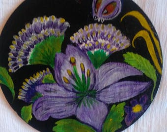 Purple Flowers on Welsh Slate Hand painted Wall hanging plaque.