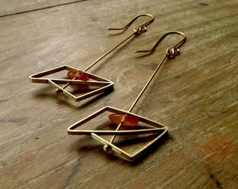 Brass earrings geometric amber