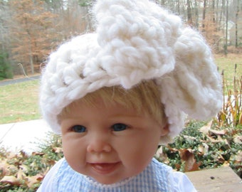 Alpaca Baby Headband, Crochet Head Wrap, White Head Warmer, Baby Photo Prop, Winter Accessory, Bow Headband, Chunky Headband, Hair Accessory