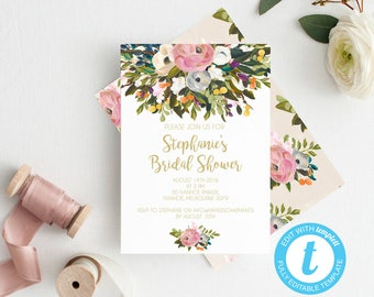 Bridal shower invitations, Bridal shower template, Hens invitation, Instant download, Bridal shower invite, bridal shower invitations