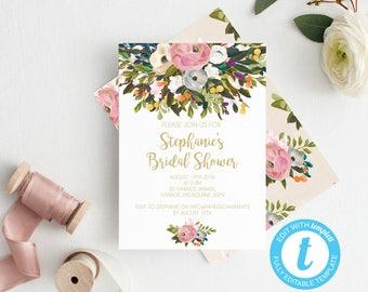 Bridal shower invitations, Bridal shower template, Hens invitation, Instant download, Bridal shower invite, bridal shower invitations