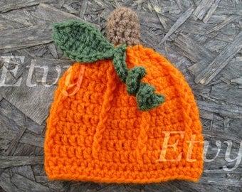 Crochet Baby Pumpkin Hat Crochet Pumpkin Beanie Baby Pumpkin Hat Newborn Photo Prop Halloween Hat Halloween Pumpkin Pumpkin Crochet Hat