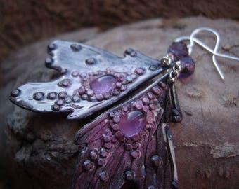 Amethyst earrings, butterfly earrings, moth earrings, purple earrings, amethyst, faerie wings, pixie wings, gemstone - Amethyst Fairy Wings