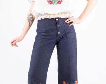 Amazing Vintage 70's Poppy, Dandelion, Wheat Grass and Butterfly Embroidered Bohemian Love Child Flared Denim Jeans