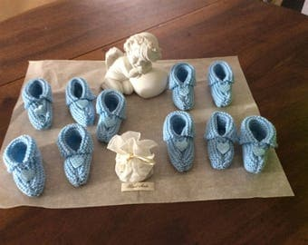 Set of 10 wool slippers for Deco baptism