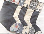 personalised christmas stocking, Grey scandi luxury Christmas stocking monogrammed Christmas stocking