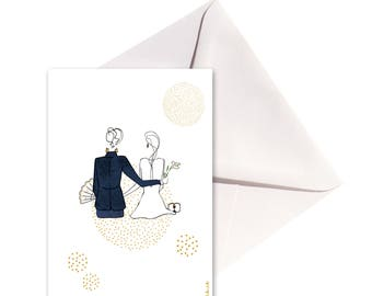 Carte pliée Mariés points, enveloppe or