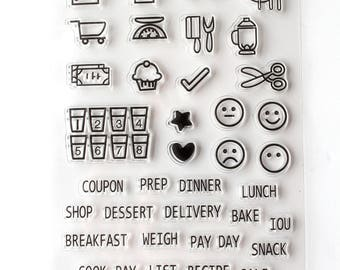 Bullet Journal Silicone Stamp/ Food/Lists  Clear stamp/ Weekly Planner Rubber stamps