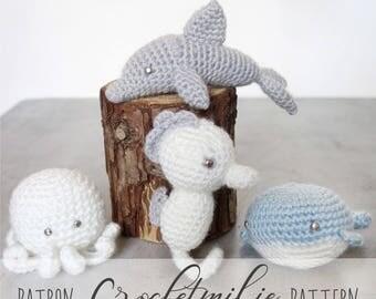 CROCHET PATTERN #005---Package of 4 Crochet Sea animals