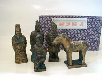 Vintage Chinese Figurines, Terracotta Army Souvenir from the Emperor Shi Tomb, Terracotta Shi Warriors, Horse Statues Sculptures
