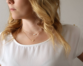 Layered necklace set - Pearl Necklace & Heart Necklace - Layering Necklaces - Dainty Layers