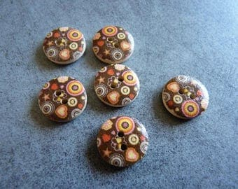 Set of decorated for quilting or sewing wooden buttons