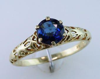 Vintage Antique Deco 1.00ct Sapphire 14K Yellow Gold Solitaire Engagement Ring