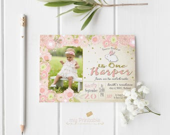 Some Bunny is One Invitation / Pink Printable Digital Birthday Party Invite