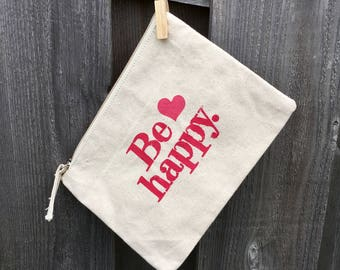 Natural colored hand stamped *Be happy-heart* canvas zipper pouch
