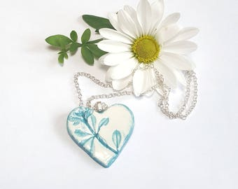 Heart Pendant Necklace, Turquoise Flower, Wedding Gift for Her, Hand painted Ceramic, Silver Chain, Unique