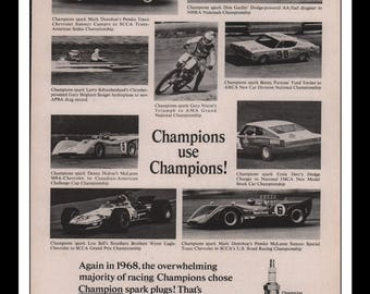 "Vintage Print Ad 1960s : Champion Spark Plugs Nascar NHRA Automobile Car Wall Art Decor 8.5"" x 11"" each Advertisement"