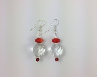 Coral & Glass Bead Earrings by Pottery Lovely