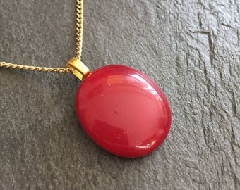 Small burgundy red pendant, burgundy fused glass necklace, deep red jewellery