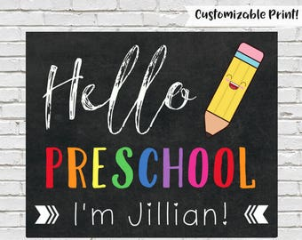 First Day of Preschool Sign, Hello Preschool, First Day of School Sign, Printable Chalkboard Sign, Preschool Printable, Instant Download
