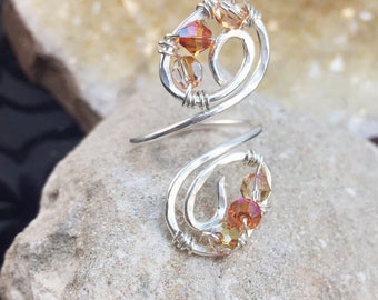 Wire Wrapped Ring, Swarovski Ring, Wire Wrapped Jewelry,Handmade Jewelry, Swarovski Jewelry, Adjustable ring, Sterling Silver Ring