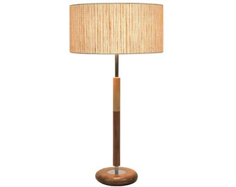 "Mid-century modern vintage style table lamp, Danish modern, willow shade, walnut wood base ""Rolo"""