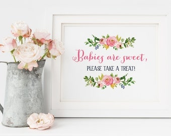 Baby Shower Sign, Babies Are Sweet Sign, Take a Treat Sign, Babies are Sweet Please Take A Treat, Baby Shower Invitation, Girl Baby Shower