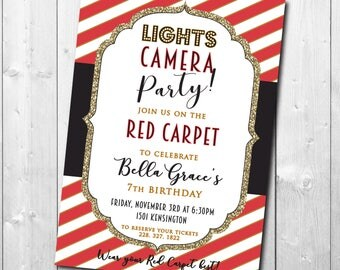 Red Carpet Birthday Invitation printable/Digital File/glamour party, movie party, girl birthday, red, gold, glitter/Wording can be changed