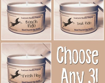 PICK ANY 3 Equestrian Themed Soy Candle Tins, Equestrian Collection! - Horse Lover, Equestrian Gift, Equestrian Candle, Horse Candle