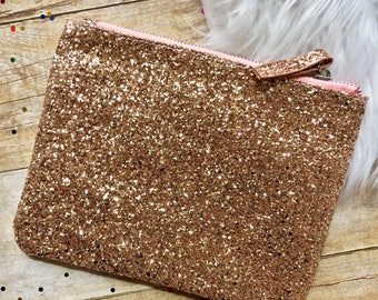Gold Glitter Makeup Bag, Cosmetic Bag, Zipper Pouch, Pencil Case, Purse Organizer, Beauty Organizer, Bag Organizer, Accessory Bag