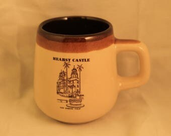 Vintage Hearst Castle Ceramic Souvenir Travel Mug Two Tone Brown San Simean, California